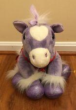 "Build A Bear Purple Horse Plush Stuffed Animal Sparkly Wings W/Dress - 12"""