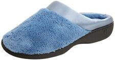 Isotoner Women's Microterry PillowStep Satin Cuff Clog Slippers, Denim, 8.5-9...