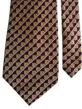 "Irvine Park Men's Silk Neck Tie In Geometric Camel Burgundy 4"" x 58"""