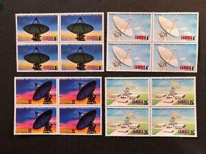 MNH Zambia 1974 Mwembeshi Earth Station blocks 4 vf Mi # 137-40