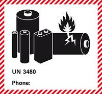 Versandetiketten UN 3480 ohne Tel.Nr. Lithium Batterien Aufkleber 120 x 110mm
