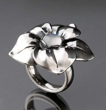 Georg Jensen Sterling Silver Flower Ring # 562A with Blue Moonstone. NEW.
