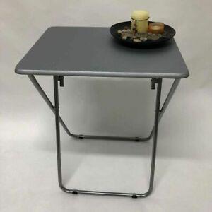 NEW Small Folding Grey TV Table Side Fold Computer Desk Table Dinner Tea Coffee
