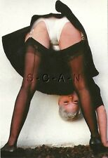 Org German Risque Pinup PC- Woman Bends Over- Skirt- Panties- Stockings- Butt
