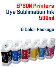 6 Multi-Color 500ml bottles ink Epson Printer Dye Sublimation Ink  Heat Transfer