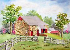 """Stone Barn in Blooming Glen"", Original Watercolor, Barns, Bucks County, PA,"