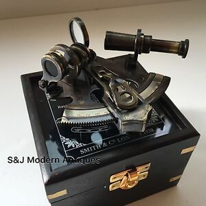 Antique Brass Pocket Sextant Navigation Nautical Marines Sextants Vintage Box