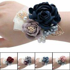 Flower Wrist Corsage Pearl Bead Bracelet Wedding Proms Party Bridesmaid Decor Uk