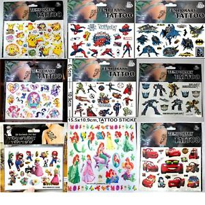 NEW Kids Temporary Tattoos Stickers Avengers Dora Batman Spider Man Sofia Pony