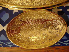 Moroccan brass hand engraved heavy  oval soap dish