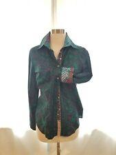 Robert Graham Womens Paisley Striped Flip Cuff Button Shirt Purpke Green S