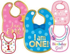 1st First Birthday Boy Girl Baby Blue Pink Bib Bibs Fabric Polyester Decoration