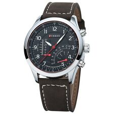 New CURREN Fashion Mens Leather Analog Army Military Quartz Sport Wrist Watch