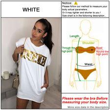 Women Summer Letter Long Tops Blouse Ladies Short Sleeve Pocket T-Shirt Dress UK