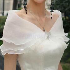 White Organza Crystal Bow Buckle Wedding Bridal Prom Wrap Shrug Shawl Bolero