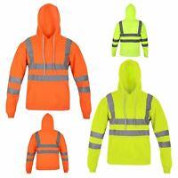 Mens High Viz Hoody Jacket Hi Vis Visibility Workwear Pullover Hoodie Hooded Top