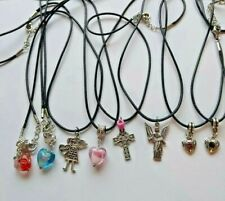 Black Cord Necklace With Walking Dead Sports Cats & More Tibetans Silver Charms