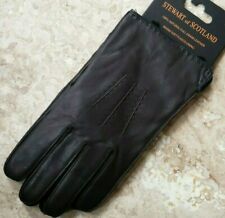 🎁 NWT Stewart of Scotland Mens Genuine Leather Gloves Fleece Lined Brown Large