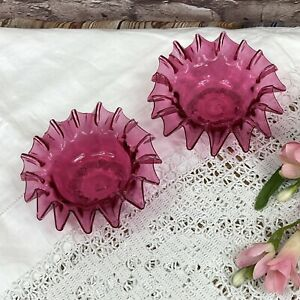 Mid Victorian Cranberry Glass Pair Of Dishes Bowls With Fluted Crimped Rims