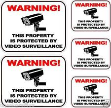 """Lot of 5 Security Surveillance Camera Warning Vinyl Decal Stickers 5"""" 3"""" Size"""