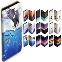 For Apple iPhone Series - Seascape Theme Print Wallet Mobile Phone Case Cover