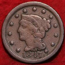 1847 Philadelphia Mint Copper Braided Hair Large Cent