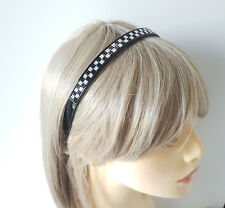 Gorgeous 12mm wide silver & black diamante effect plastic headband - aliceband