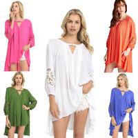 JODIFL Womens Crochet Drapy Boho Lace Bohemian 3/4 Sleeve Top Blouse Tunic S M L