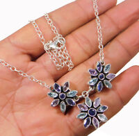 "Iolite Blue Topaz Floral Necklace 22"" Sterling 925 Silver Jewelry 18.8g MN3507"