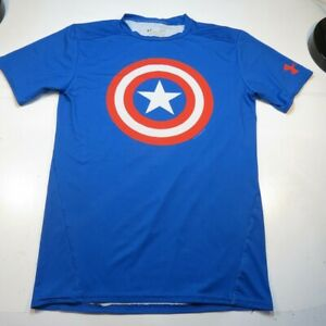 UNDER ARMOUR COMPRESSION WORK OUT CAPTAIN AMERICA JERSEY TEE T SHIRT Sz Mens L