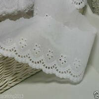 "5Yds  Broderie Anglaise Eyelet lace trim 2.8"" white YH737 laceking2013"