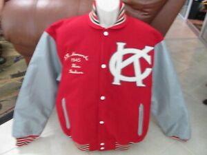 NWT Kansas CIty Monarchs Negro League Baseball Jacket MENS L Red Grey
