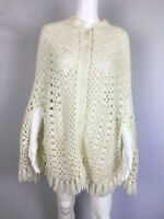 Handmade Women's Knit Poncho Sweater Sz One Size  Button Front  Fringe Bottom