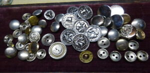 A Large Lot of Metal and Plastic Vintage Antique Buttons Various Sizes