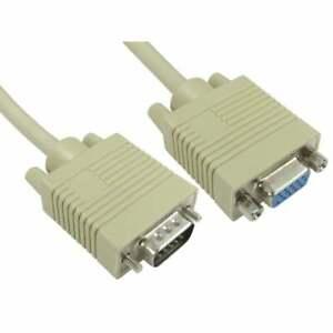 1m Super VGA SVGA PC Monitor Extension Cable Lead Male To Female 15 Pin Beige