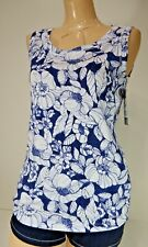 Rafaella Womens Sleevless White with Blue Floral Print Shirt Tank Top Sz Medium