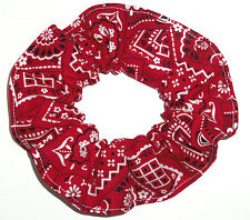 Hair Scrunchie Bandana Western Print Paisley Red Blue Pink Scrunchies by Sherry