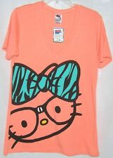 Hello Kitty Tee NERD BLACK GLASSES V-Neck ORANGE SIZE X SMALL XS NWT