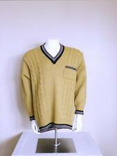 vtg 80s 30s style Psychobilly greaser cable knit 2 tone Wool rockabilly sweater