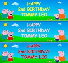 2 PERSONALISED  PEPPA  CHILDREN'S  BIRTHDAY PARTY BANNER WITH YOUR NAME & AGE