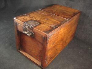 ANTIQUE JAPANESE EDO ERA (c.1820) ZENIBAKO LIDDED MONEY BOX TANSU CHEST
