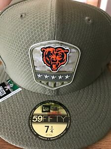 New Era 5950 Chicago Bears fitted hat size 7 1/4 olive Salute to Service