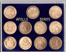 NASA APOLLO MANNED SPACE FLIGHT SERIES - 11 SEALED ANTIQUE BRONZE COIN SET