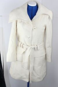 Warehouse Smart cream Wool-blend Coat With Collar And Belt Size 10