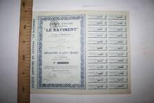 """PERIÓDICO  """"LE BATIMENT""""  PARÍS, 1921, ACCIÓN DE 100 FRANCOS   MBC  FOTO"""