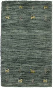 Hand-Loomed Small Solid Hunter Green 2X3 Modern Oriental Rug Kids Room Carpet