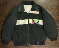 Vintage 80s Ski Sport Women's Winter Down Puffer Jacket Color Block Sz Medium