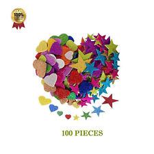 Foam Stickers Shapes Kids Craft Card Making Scrap booking glitter flower star UK