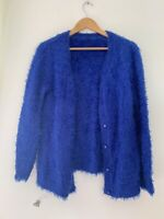 Ladies Cardigan M 12 Blue Acrylic Long Sleeve Casual Button <JS523