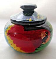 PARROT MACAW TRINKET JAR - BEAUTIFUL VIVID COLORS - HAND PAINTED - HIGH GLOSS